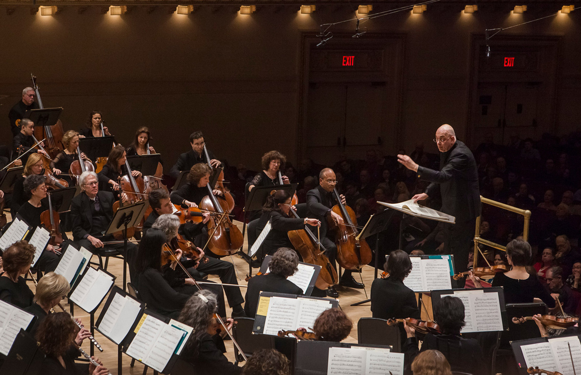 Leon Botstein leading the American Symphony Orchestra at Carnegie Hall.