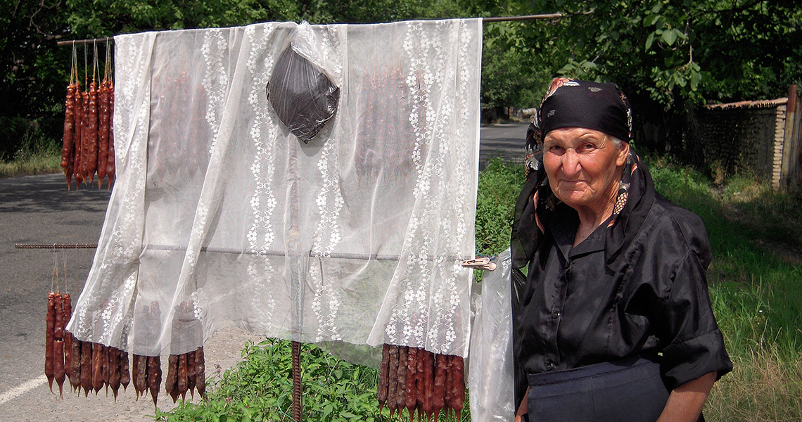 Selling 'churchkhela' in Georgia