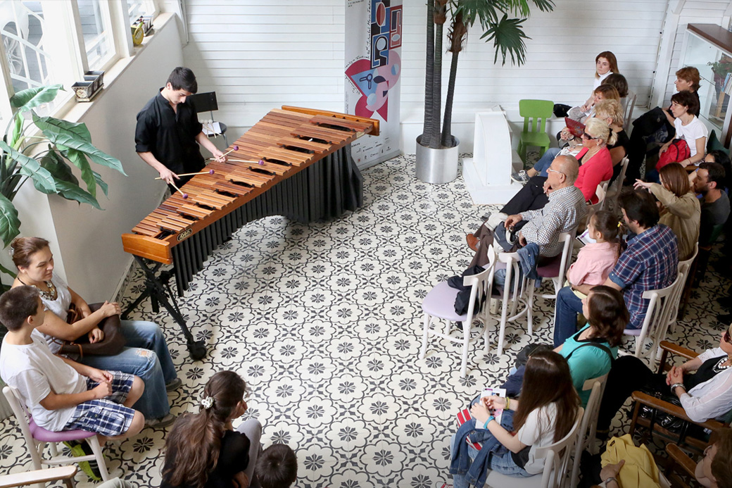 Elman Mecid playing the marimba at the Istanbul Toy Museum as part of the city's music festival.