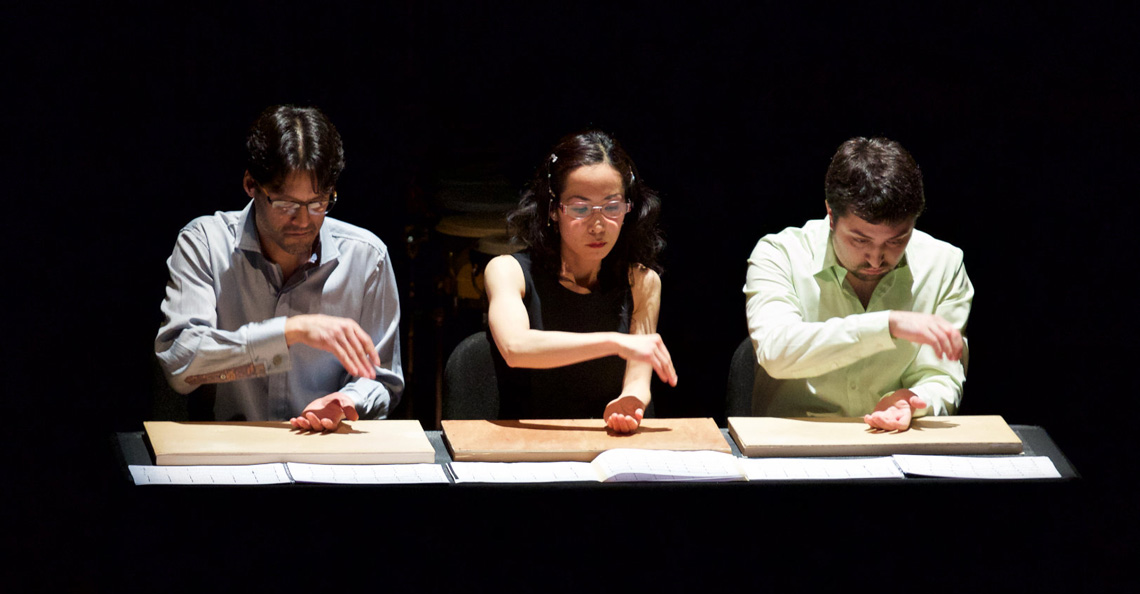 From left, Christopher Froh, Ayano Kataoka and Ian David Rosenbaum in a percussion-focused show at Alice Tully Hall. Photo by Benjamin Norman.